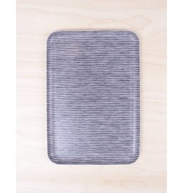 Fog Linen Linen Tray Gray Stripe- Large