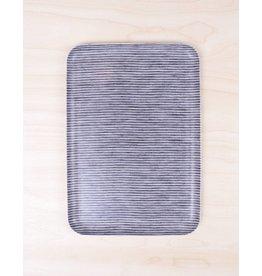 Fog Linen Linen Tray Gray Stripe- Large