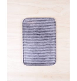 Fog Linen Linen Tray Grey Stripe -Medium