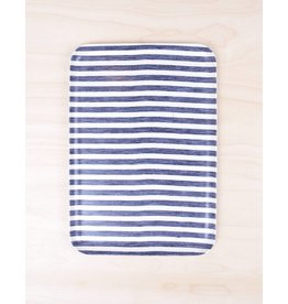 Fog Linen Linen Tray White & Blue Stripe -Large