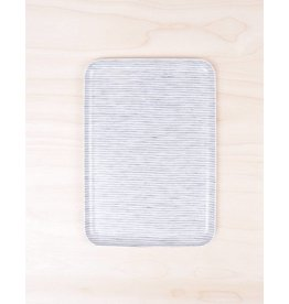 Fog Linen Linen Tray Gray White Stripe - Medium