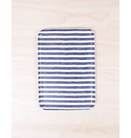 Fog Linen Linen Tray White & Blue Stripe- Medium