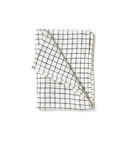Fog Linen Black Grid Linen Kitchen Towel