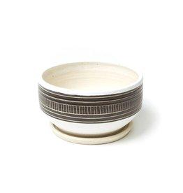 Veak Ceramics Black Planter with Tray, Large