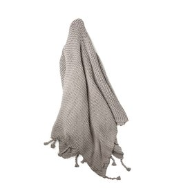 Zestt Gray Organic Cotton Knit Throw