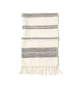 Creative Women Handwoven Hand Towels Natural with Gray Stripes
