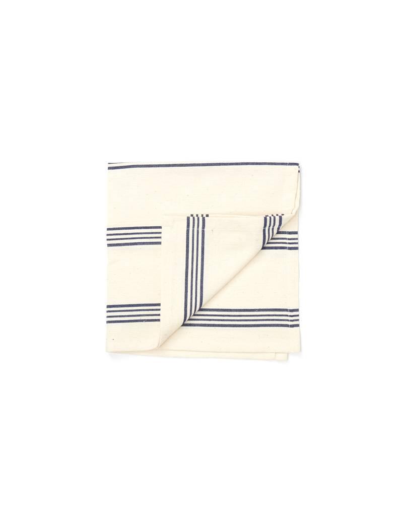 Tensira Handwoven Napkins S/4 Navy Blue Wide Stripes