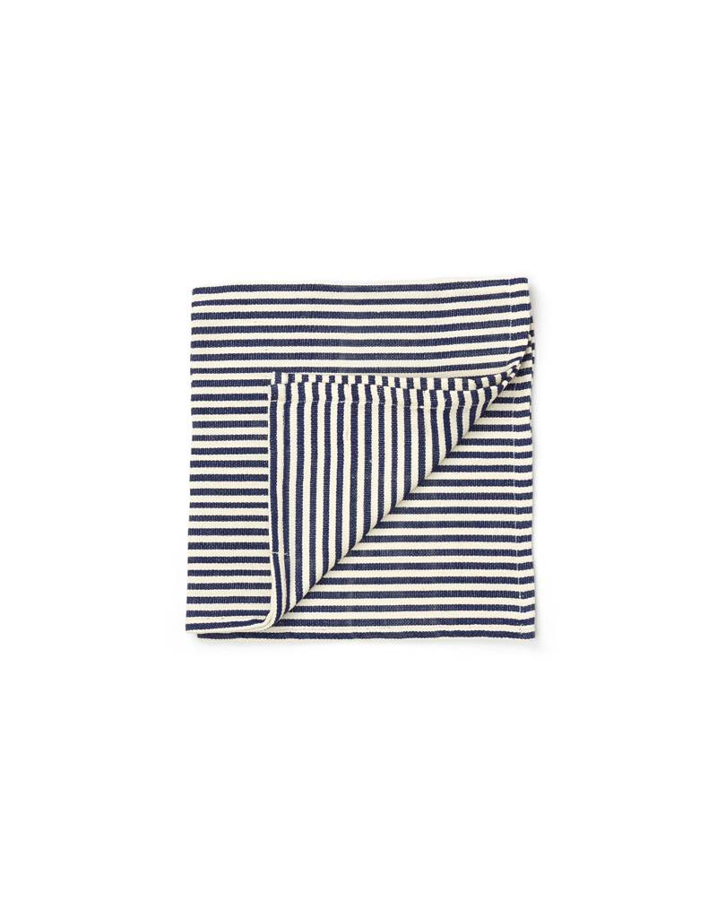 Tensira Handwoven Napkins S/4 Navy & Off White Skinny Stripes