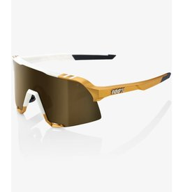 100 Percent 100 Percent S3 Peter Sagan Limited Edition White/Gold Soft Gold Mirror Lens