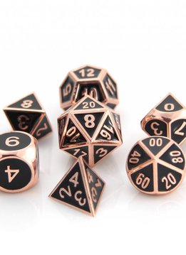 Metal Gothica Dice - Shiny Copper with Black