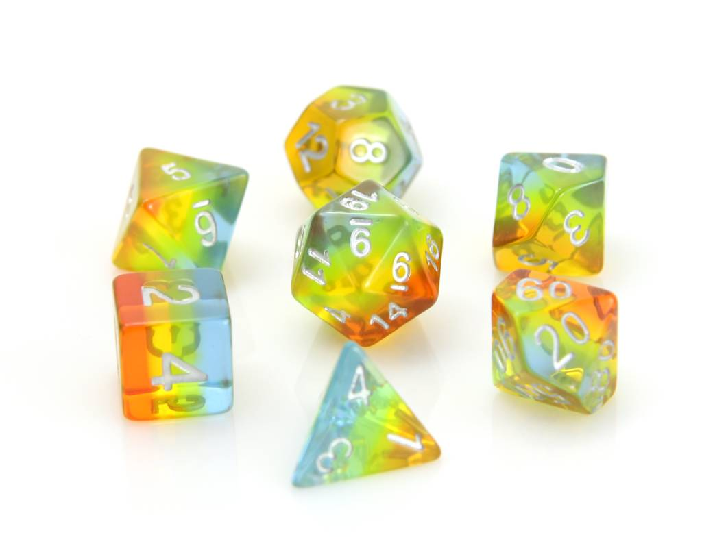 Poly RPG Dice Set - Translucent Sunrise Gradient