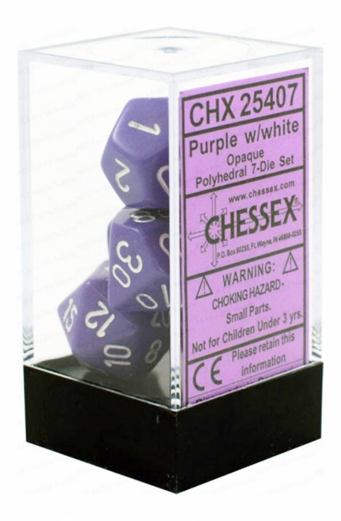 25407: Opq: 7pc Purple/White dice set