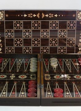 "Backgammon 15"" Floral Decoupage Wood"