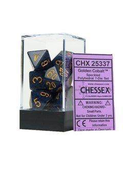 25337: 7pc speckled polyhedral Golden Cobalt