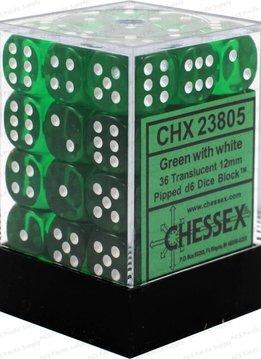 23805 Translucent Green/white Dice 36D6