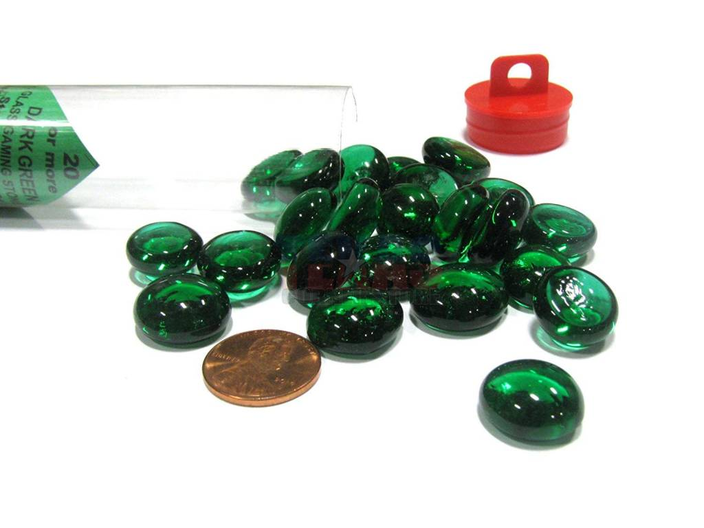 Glass Stones Tube - Dark Green