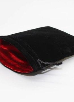 """Velvet 3"""" x 4.5"""" Black/Red Dice Bag"""