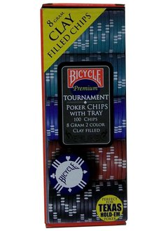 Bicycle 8 Gram 100 Count Clay Poker Chips w/Casino Tray