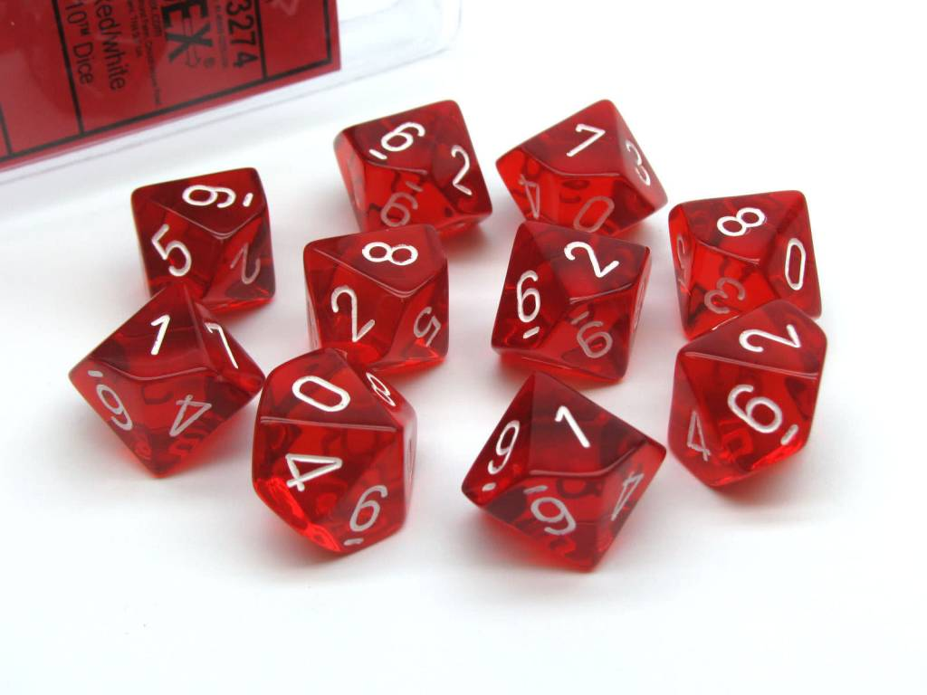 23274 Translucent 10d10 Red/White