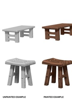 Wizkids Unpainted Minis: Wooden Tables/Stools
