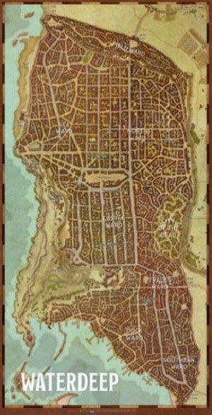 D&D Waterdeep City Map Game Mat