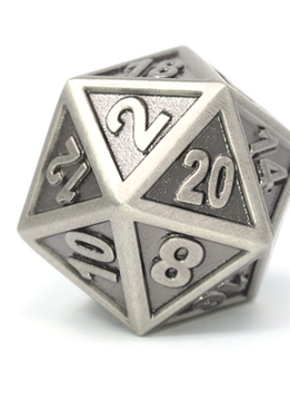 Metal Gothica Dice Set - Battleworn Silver