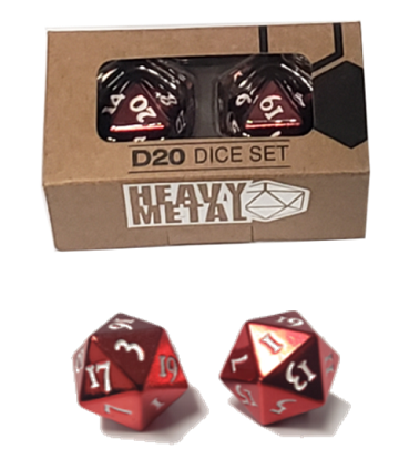 Heavy Metal D20 Red 2-Dice Set