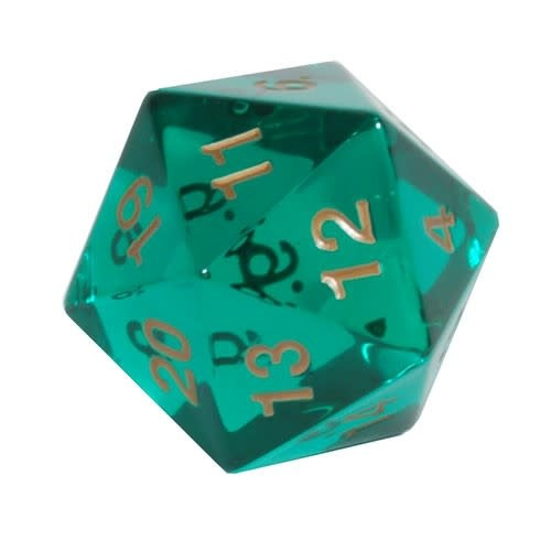 TRANSP JUMBO D20 COUNT 55mm EMERALD/GOLD (CARDED)