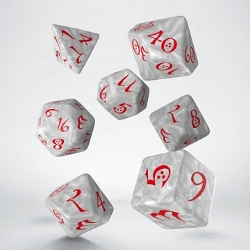 Classic RPG Dice Set - Pearl/Red