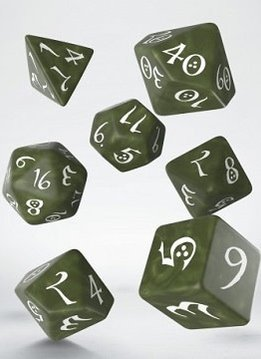 Classic RPG Dice Set - Olive/White