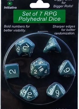 Set of 7 Dice: Sea Dragon Shimmer with White Numbers