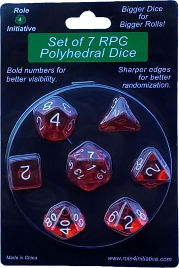 Set of 7 Dice: Translucent Red with White Numbers
