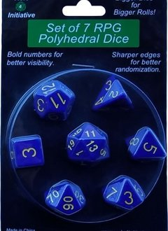 Set of 7 Dice: Opaque Dark Blue with Gold Numbers