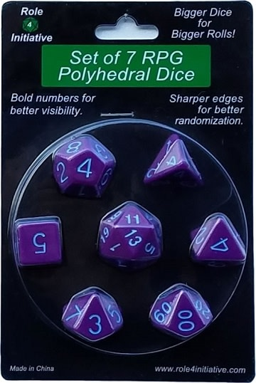 Set of 7 Dice: Opaque Dark Purple with Blue Numbers