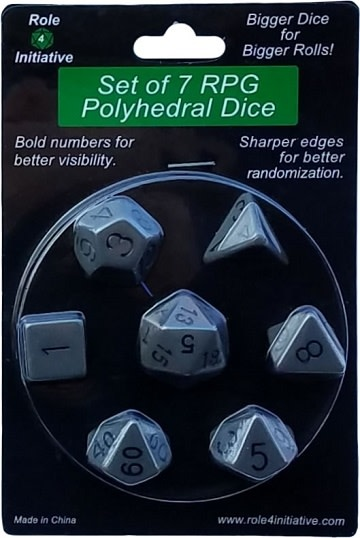Set of 7 Dice: Opaque Dark Gray with Black Numbers