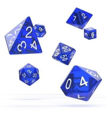 OD RPG Translucent 7 Dice Set - Blue