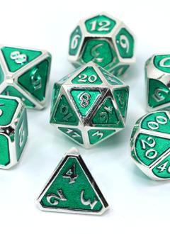 Metal Mythica Dice Set - Platinum Emerald