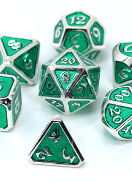 Metal Mythica Dice Set - Platinum Emerald