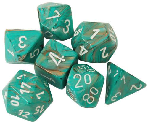 27403 - 7 Dés Poly Marbrés Oxy-Copper avec Chiffres Blancs