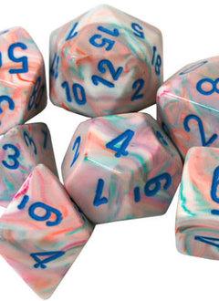 27544 - 7 Dés Poly Festive Pop Art avec Chiffres Bleus