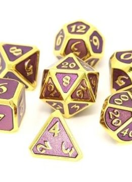 Metal Mythica Dice Set - Gold Amethyst