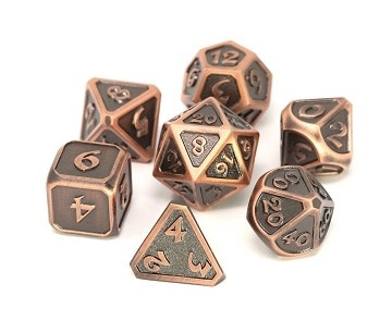 Metal Mythica Dice Set - Battleworn Copper