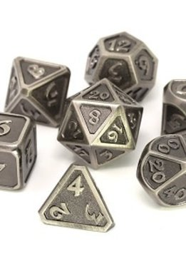 Metal Mythica Dice Set - Battleworn Silver