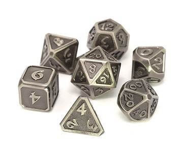 Metal Mythica Dice Set - Battleworn Silver
