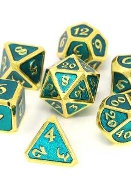 Metal Mythica Dice Set - Gold Aquamarine