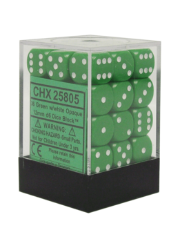 25805 Opaque 12mm d6 Green/white Dice Block (36 dice)