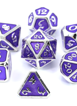Metal Mythica Dice Set - Platinum Amethyst
