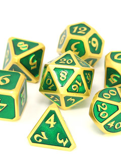 Metal Mythica Dice Set - Satin Gold Emerald