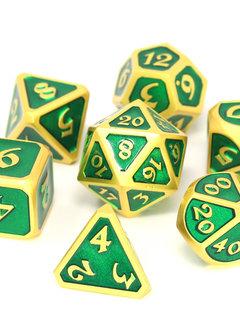 Metal Mythica Dice Set - Satin Gold Emerald