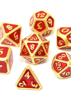Metal Mythica Dice Set - Satin Gold Ruby